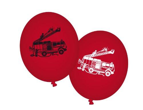8 Luftballons rot Feuerwehr Feuerwehrfahrzeuge - Feuerwehr Party