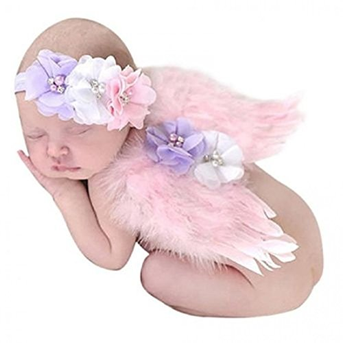 Babymoon (Set of 2) Baby Angel Feather Wings with Pear Headband) Best Costume/Photography Props/Photoshoot / Baby Shower GIF (Baby Pink)