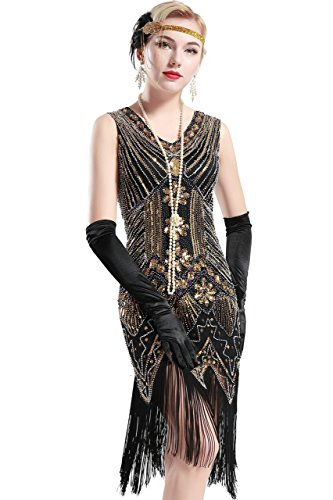 Gatsby Kostüm Great Paar - BABEYOND Damen Flapper Kleider voller Pailletten Retro 1920er Jahre Stil V-Ausschnitt Great Gatsby Kostüm Kleid (Größe L / UK 16 / EU 44, Gold)