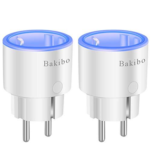 bakibo Presa Intelligente Wifi Compatibile con Alexa Echo, Google Home e IFTTT, Mini Smart Plug con Luce Notturna, App Controllo Remoto, Temporizzazione, Programma, Monitor Energetico - 2 Pcs