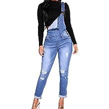 1315a79146 Hibote Jeans de Mezclilla de Las Mujeres Guardapolvos Holgados sin Mangas  de la Correa Monos Mamelucos