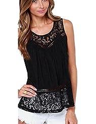 Malloom Mujeres atractivo de encaje sin mangas chaleco crochet verano Camiseta Tank Top Blouse (negro, M)