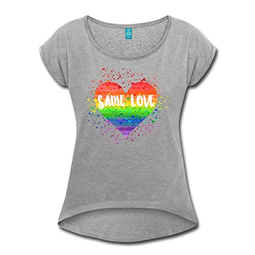 Spreadshirt Same Love Rainbow Gay Pride Women's T-Shirt with Rolled up Sleeves