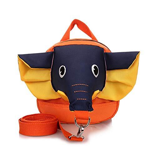 Niños niño de los niños del Bolso de Hombro Lindo Elefante Diseño Mochila de Seguridad Anti-Perdida con Correa de Seguridad (Nariz Azul y Amarillo del oído)