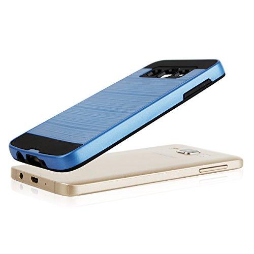 EGO® Hard Case Schutz Hülle für Samsung A300 Galaxy A3, Grau Metallic Effect Aluminium Brushed Handy Cover Schale Bumper Etui Blau