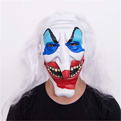 Evil Scary Halloween Joker Clown Maske Rubber Latex Full Face Horned Clown Maske für Party Masquerade Kostüm Maske Zubehör, geeignet für die meisten Erwachsene