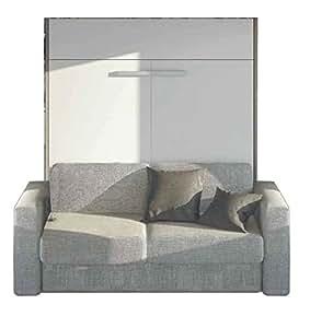Armoire lit à ouverture assistée TRACCIA canapé intégré accoudoirs larges couchage 160cm