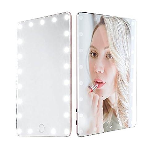 Schminkspiegel mit LED Beleuchtung, Luxuriös Einstellbare Licht Smart Touch Einstellungen USB Wiederaufladbare Reise Make up Spiegel Mit Schutzleder Fall für Kosmetik Unterwegs 20 x 13.5 cm (Einstellbare Einstellung)