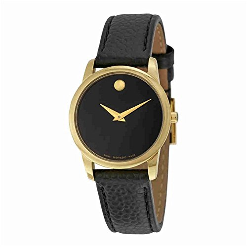 Movado Women's Museum 28mm Black Leather Band Gold Plated Case Sapphire Crystal Swiss Quartz Watch 0607016