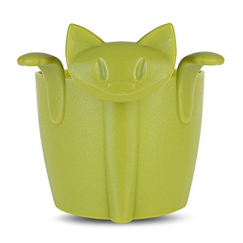 KANG-FANG,Katzenform-Tee-Soaker-Plastikfilter-Lochfilter(color:GRÜN)