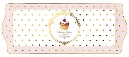 Easy Life 1109DOC Coffret Plat à Cake Porcelaine, Rose, 35 x 15 x 2,5 cm