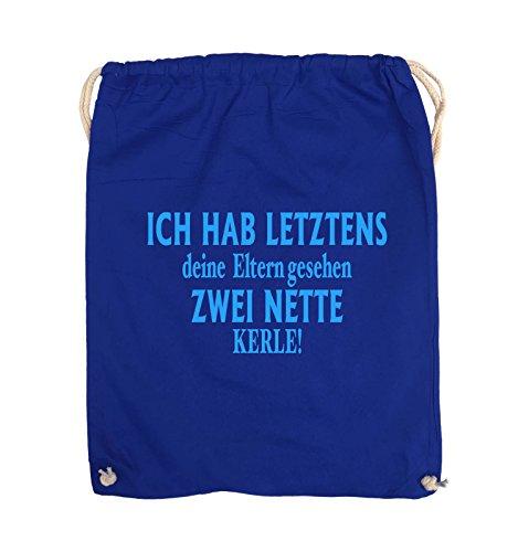 Comedy Bags - Ich hab letztens deine Eltern gesehen zwei nette Kerle! - Turnbeutel - 37x46cm - Farbe: Schwarz / Silber Royalblau / Blau