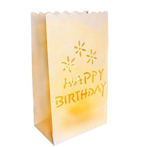 10er Set Happy Birthday Weiße Papiertüten Geburtstag Lichttüten Kerzentüten Dekorative Laternen von Kurtzy - Mittelstück Kunsthandwerk Dekorationen - Feuerresistent - Große Laternen - Mit Teelichter Verwenden (Normal oder LED) - Rustikale Dekoration