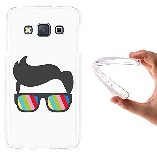 WoowCase Samsung Galaxy A3 2015 Hülle, Handyhülle Silikon für [ Samsung Galaxy A3 2015 ] Sonnenbrille und Nerd Stil Handytasche Handy Cover Case Schutzhülle Flexible TPU - Transparent