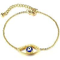 OMZBM Frauen Armband Vergoldet Hochwertigem Edelstahl Evil Eye Einstellbare Handkette Schmuck Für Mädchen