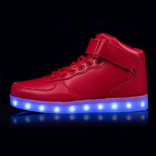 AFFINEST Haut-dessus chargement USB LED chaussures clignotant chaussures de sport pour les enfants Rouge