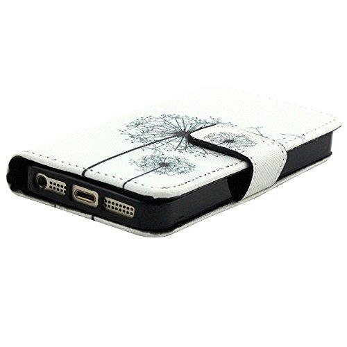 EUDTH iPhone SE Coque Peinture Style Housse Flip Cover Portefeuille Etui en Cuir de Protection Case vec B¨¦quille pour iPhone 5 / 5S / iPhone SE -YH06 YH21
