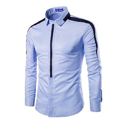 Honghu Homme Casual Slim Fit Manches Longues Commerce Chemise Bleu ciel