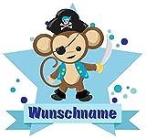 Samunshi Piraten AFFE Wandtattoo Türschild mit Name personalisierbar Kinderzimmer Türaufkleber Baby Wandaufkleber in 9 Größen (40x35cm Mehrfarbig)