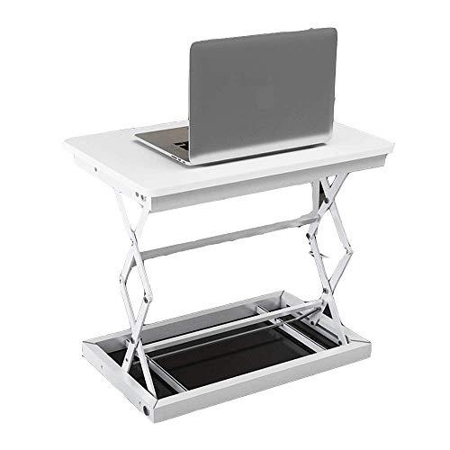 S&RL Multifunktionales, Zusammenklappbares Höhenverstellbares Stehpult - Stabiler Stehstand-Tischkonverter, Einfache Bedienung Schwarz, Weiß Tragbarer Schreibtisch, Weiß