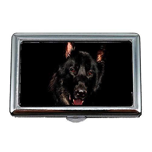 Zigarettenetui, elsässische schwarze Augen Schäferhund Hunde, Visitenkartenetui Visitenkartenetui Edelstahl