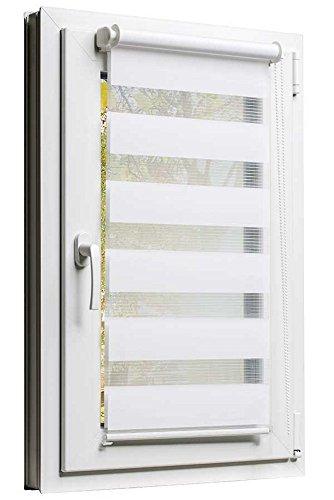 Fensterrollo Duo-Rollo 60 x 150 cm Weiss - Sonnenschutz mit Kettenzug und Klemmfix - Leisten in Weiss - inkl. Zubehör - Größe wählbar