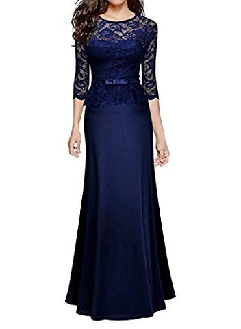 MIUSOL Women's Formal Evening 3/4 Sleeve Lace Maxi Dress,Long Peplum Ball Gown Occasion Dresses for