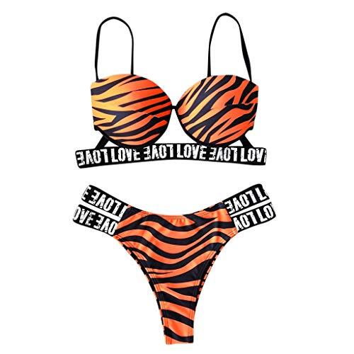Donna Tempo Libero Moda Stampa Lettera Push-Up Imbottito Reggiseno Bikini Set Costume da Bagno Sconto Primavera Estate 2019 (S, Arancio2)