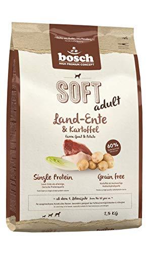 bosch HPC SOFT Land-Ente & Kartoffel | halbfeuchtes  Hundefutter für ausgewachsene Hunde aller Rassen | Single Protein | Grain Free, 2 x 2.5 kg