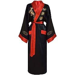 Kimono japonés mujer negro y rojo bata reversible tamaño S