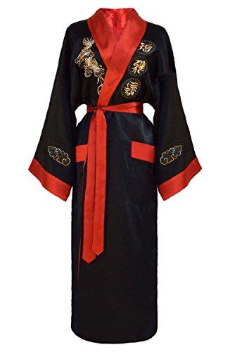 Kimono japonés mujer negro rojo bata reversible tamaño