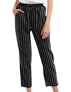 beautyjourney Pantalones cortos ajustados, Pantalones de pierna recta de cintura elástica Pantalones casuales...