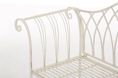 nostalgische Metall-Gartenbank aus Eisen stabil und robust, Farbe Antik creme – Landhaus Sitzbank wetterfest für Garten, Terrasse und Balkon - 6