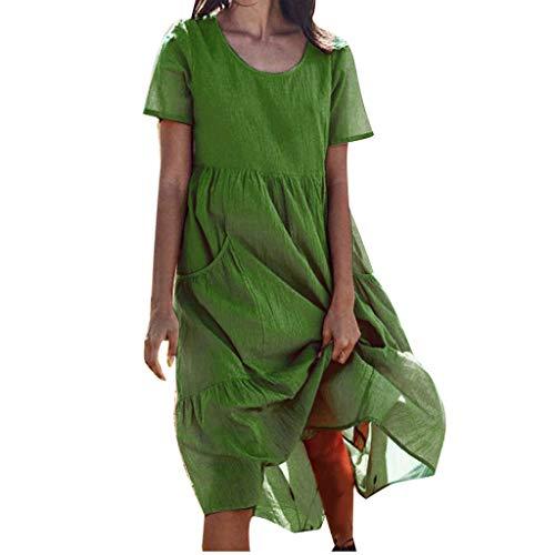 Lialbert Strandkleid Dame Leinenkleid Rundhals Kleid Maxikleider ÄRmeln T-Shirt-Kleid BüNdchen Sommerkleid Pailletten Frauen Swing-Kleid Skaterkleid Plissierter Grün