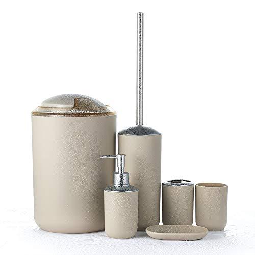 JOTOM 6-teilig Badset mit Seifenschale, Seifenspender, Zahnputzbecher,Mülleimer,Toilettenbürste,Zahnbürstenhalter (Beige) (Badezimmer 6-teilig)