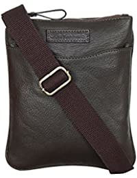 Justanned men's Brown leather crossbody bag