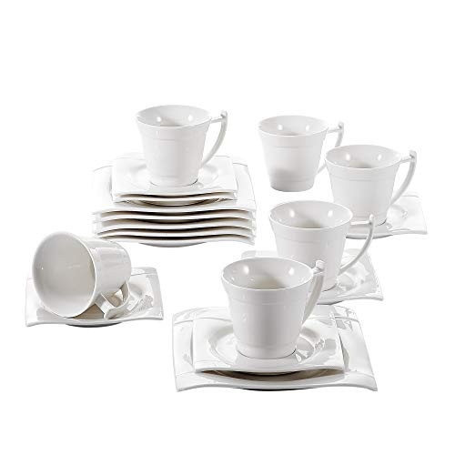 Vancasso Aurora 18-Piece Porcelain Coffee Sets Ivory White Afternoon Tea Sets with Cups Saucers Set and Side Plates,Service for 6