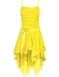 Fast Fashion - Robe Mousseline De Soie Plaine Zigzag Ourlet Prom Party Cravate De Ceinture Ruché - Femmes