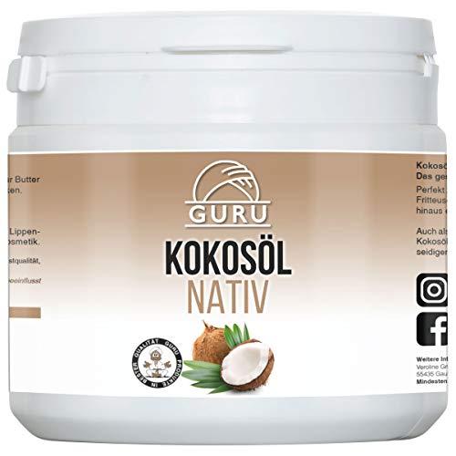 Kokos Extra Virgin Coconut Oil (Guru Bio Kokosöl 500ml Pflegeprodukt für Haut Haare Gesicht | Bio Nativ Kaltgepresst | Kokosfett Virgin Kokosnussöl)