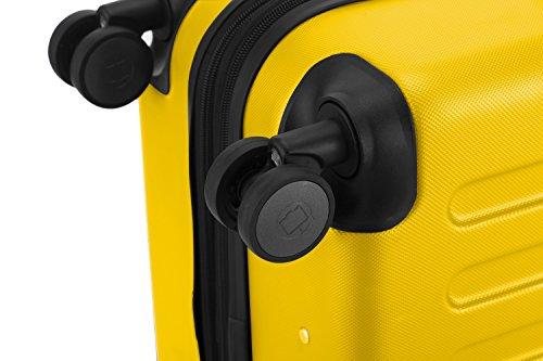 HAUPTSTADTKOFFER® Hartschalen Koffer SPREE 1203 · NEU 4 Doppel-Rollen · MATT · TSA Zahlenschloss · + KOFFERANHÄNGER (Gelb, Set) - 5