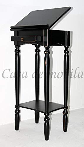 Massivholz Stehpult schwarz antik Rednerpult schwarz Vintage Notenständer mit Schublade Shabby Chic 4-Fach verstellbare Klappe