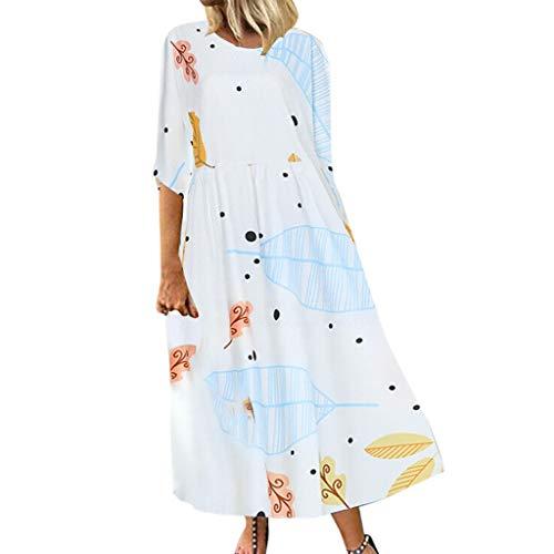 Kostüm Blätter Stapel - Markthym Damen Kleid Frauen-Weinlese-Blatt-Druck-Kleid-ärmelloses O-Ansatz DREI-Hülsen-Hülsen-Maxi-Kleid Kurzärmliges Kleid mit Blattdruck für Damen