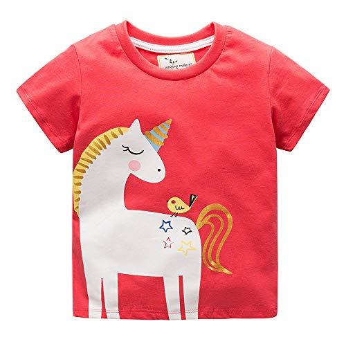 Vestidos Unicornio para niñas Camisetas de algodón Camiseta Estampada con Manga Corta para niños pequeños