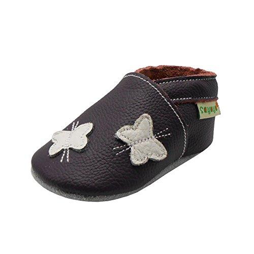Sayoyo Baby Schmetterling Lauflernschuhe Leder Weiche Sohle Baby Mädchen Baby Jungen Kugelsicherer Krippe Enfants Schuhes (24-36 Monat, Violett) -