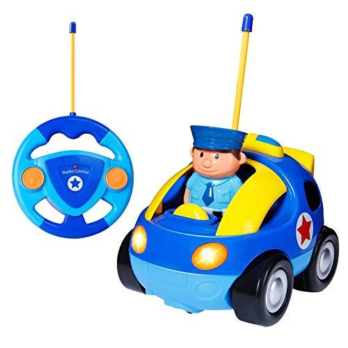 Yojoloin RC Cartoon Racer Auto Fernbedienung Polizei Spielzeug mit Musical & Licht Geburtstagsgeschenk für Kinder Kleinkinder (BLAU)