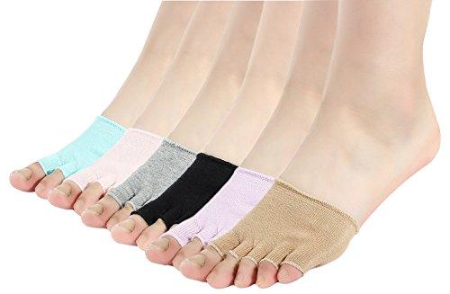 EOZY Lot De 6pcs Chaussette Demi Doigt Yoga Antidérapant Toe Sock Coton Femme