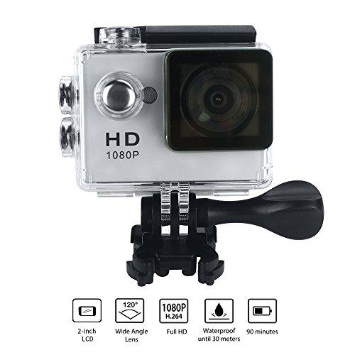 """Yuntab Videocamera A9 fotocamera sport d'azione Full HD 720P impermeabile LCD da 2,0 """"a 120 ° Obiettivo DVR esterna del casco camma di azione della macchina fotografica per EU caricabatterie(A9 Argento )"""