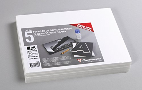 CLAIREFONTAINE Lot 5F carton mousse 10mm A4 Blanc