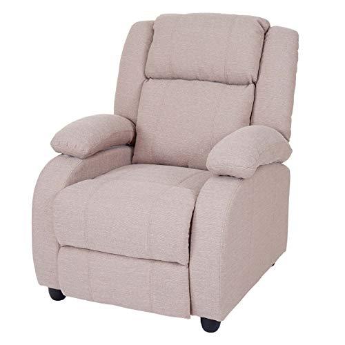 Mendler Fernsehsessel Lincoln, Relaxsessel Liege Sessel, Stoff/Textil ~ Creme-grau