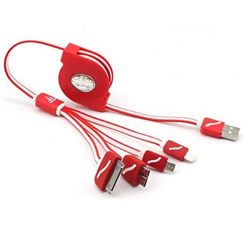 Easytar, cavo USB retrattile 4in 1,multifunzionale, caricatore USB universale per iPhone 6s, 6s Plus, 5/5s/5c, 4s 4, iPad Mini, Galaxy S4, S5, S6(nero) RED